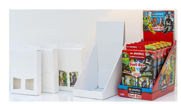 Verkaufsdisplays und Displaybestückung von kleinen Displayboxen für Regale